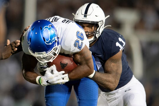 Linebacker Micah Parsons, seen here making a tackle earlier this season vs. Buffalo. leads Penn State in tackles with 75. (AP Photo/Barry Reeger)