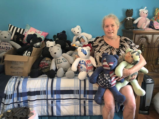Tracy Mullins of Shrewsbury was commissioned to make 25 bears for a woman who wanted to give her children the stuffed animals made from the shirts of her father, who had died. Tracy made her first bears for her good friend, Jeff Hottle, who also wanted his family to have bears made from his work shirts.