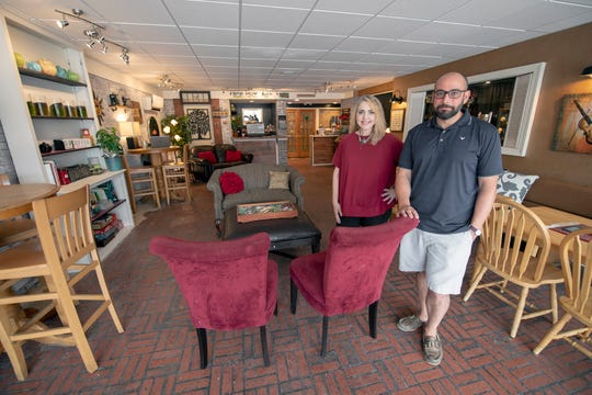 Co-owners Holly Lanteigne-Marrow, left, and Jason Wehrle at the Belmont Bean at 18 S. Belmont Street near the intersection of East Market Street in Spring Garden Township.