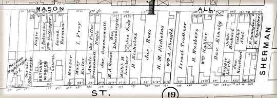 The 600 and 700 blocks of East King Street as shown in the 1903 atlas of York. Note Bethany Moravian and homes of prominent Gypsies.