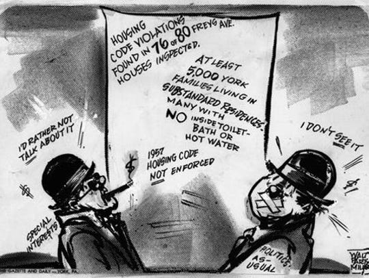 """This Walt Partymiller cartoon, titled """"But Few Care"""" and published on Jan. 23, 1968, captured the moment, indicating York City officials stonewalling against challenges by many in the York community for improving housing. This inaction contributed to race riots later in 1968 and 1969. Notice that factoid suggested that many city residents still used outhouses in the late 1960s."""