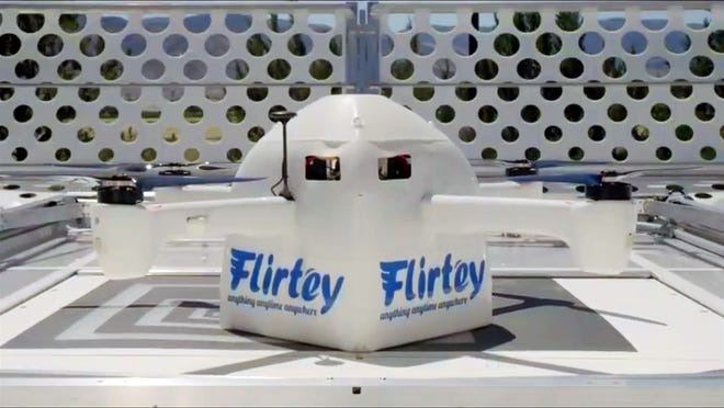Flirtey's Eagle delivery drone can deliver food and other packages in less than 10 minutes.