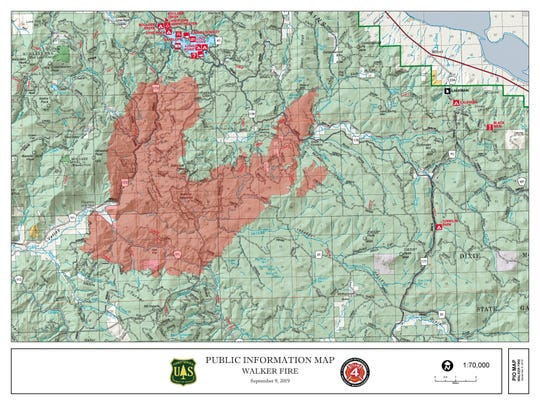 A perimeter map of the 43,391-acre Walker Fire as of Sept. 9.