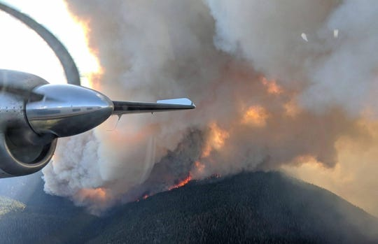 A photo from a firefighting aircraft of the Walker Fire on Sept. 5.