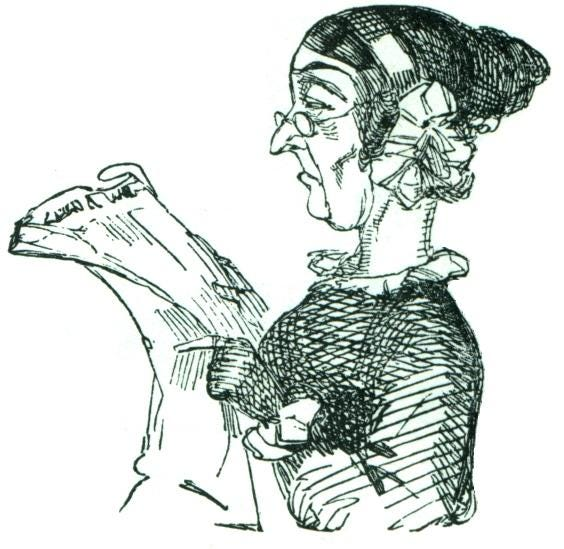 A drawing shows a woman scowling as she reads the newspaper.