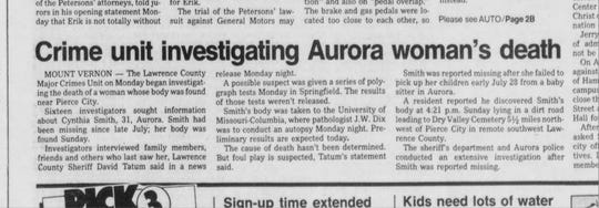 Aug. 9 1988 story from The Springfield News-Leader on the investigation into the death of Cynthia Smith. Larry G. Timmons was arrested