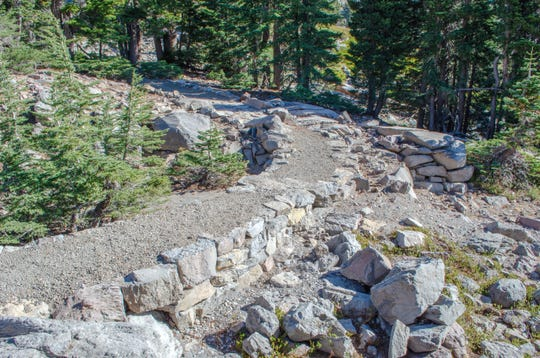 An improved section of the Bumpass Hell Trail.