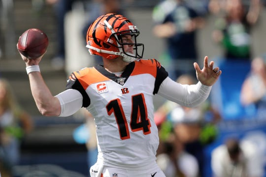 Cincinnati Bengals quarterback Andy Dalton passes against the Seattle Seahawks during the first half of an NFL football game,, Sept. 8, 2019, in Seattle.
