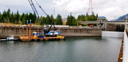 This Sunday, Sept. 8, 2019 photo shows a boat lock on the Bonneville Dam on the Columbia River that connects Oregon and Washington at Cascade Locks.