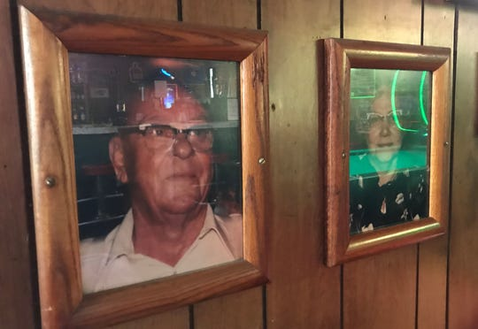 The original owners of Noble's Tavern, Noble and Hannah Dependehner, are remembered in photographs on the wall of the neighborhood hangout near 17th and Center streets NE in Salem.