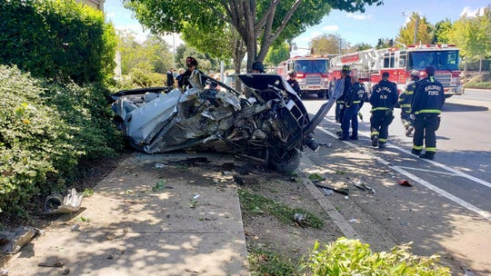 Salinas police say a man is in critical condition after a car went airborne into a sound wall on Sept. 8, 2019.