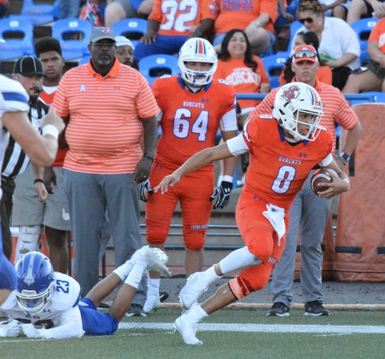 San Angelo Central's Malachi Brown races upfield after escaping a tackle against Del Rio Friday, Sept. 6, 2019, at San Angelo Stadium.