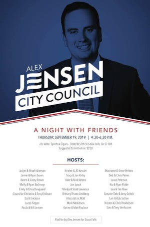 Alex Jensen will hold a fundraiser later this month with support from some notable names in South Dakota politics.
