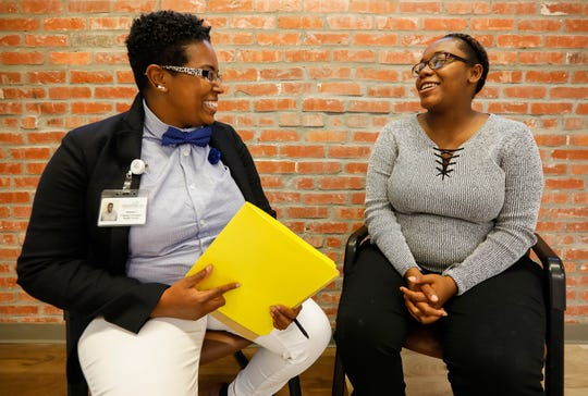 Community Health Worker Janessa Crockett, left, has been working with Shameka Whitehead.