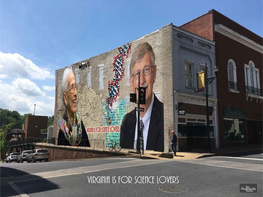 Mural submission by Bob Kirchman, which includes Francis S. Collins, a Staunton native who headed the Human Genome Project, and Katherine Coleman Goble Johnson, who worked in the Langley Space Task Group plotting the trajectories of Mercury, Gemini and Apollo missions.