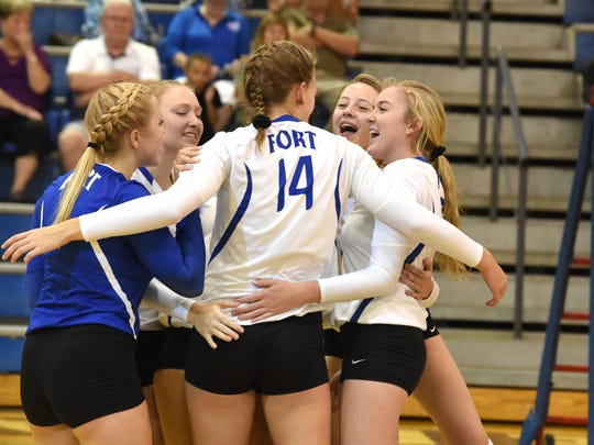 Maddie Painter (right) and teammates celebrate after scoring against Broadway Thursday, Sept. 5