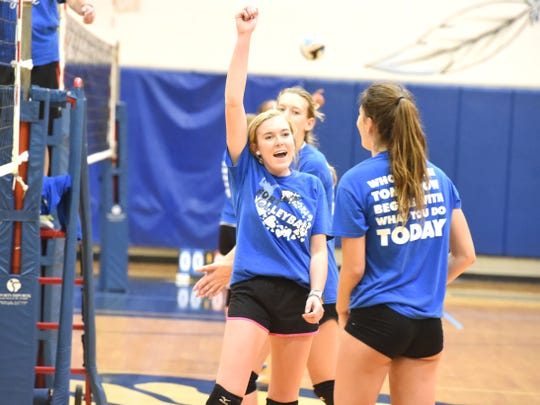 Fort Defiance's Maddie Painter celebrates a point during a volleyball practice Tuesday, Sept. 3