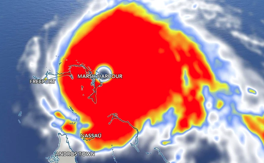 Hurricane Dorian landfall in the Bahamas with 185 mph winds.