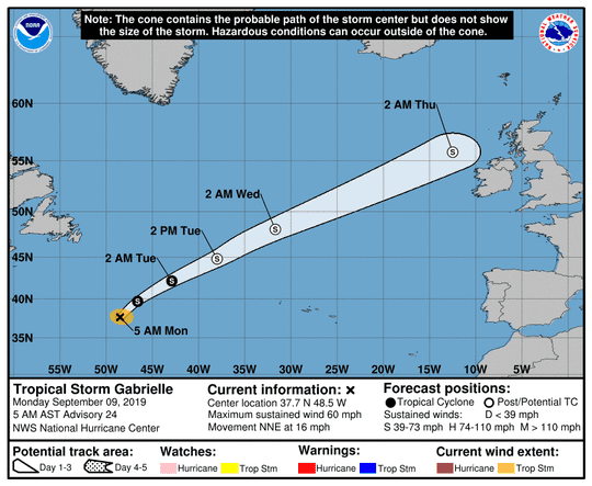 Tropical Storm Gabrielle 5 a.m. Sept. 9, 2019