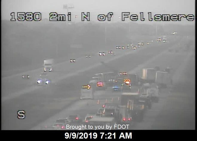 A tractor trailer overturned on I-95 near County Road 512 causing injuries and blocking southbound lanes on Monday, Sept. 9, 2019, according to highway officials.