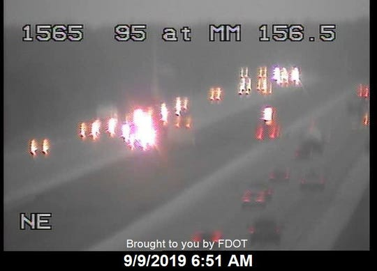 Highway officials reported an early-morning crash on I-95 near the Fellsmere Road exit on Monday, Sept. 9, 2019.