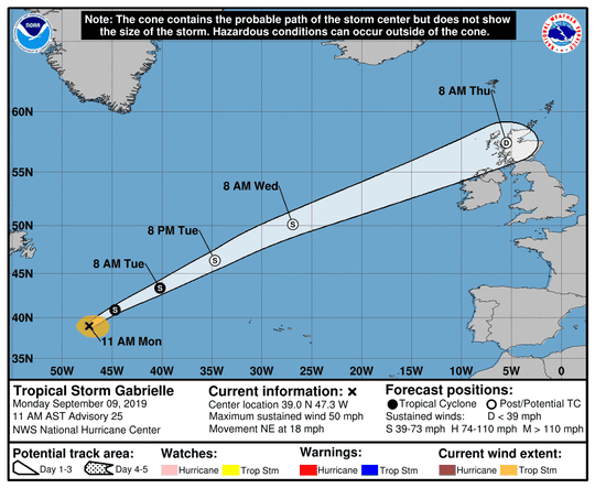 Tropical Storm Gabrielle 11 a.m. Sept. 9, 2019