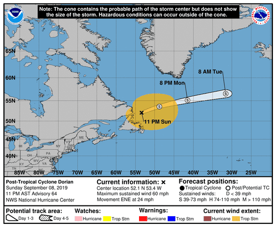 Post-Tropical Cyclone Dorian 11 a.m. Sept. 8, 2019