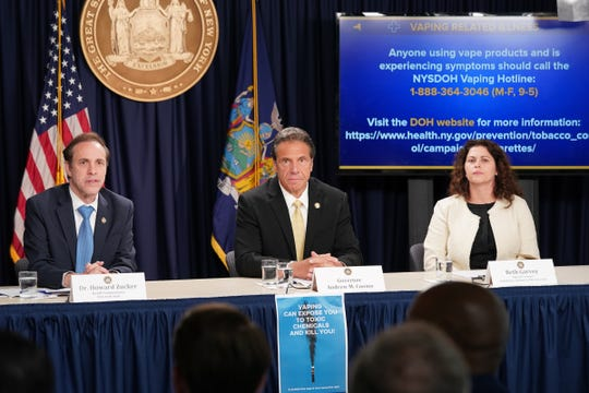 Gov. Andrew Cuomo, health commissioner Howard Zucker and counsel Beth Garvey discussed New York's steps to address illnesses associated with vaping during a news conference in Manhattan on Sept. 9, 2019.