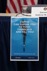 New York will begin requiring vaping shops to post this message amid growing concern about the safety of the products, Gov. Andrew Cuomo announced Sept. 9, 2019.