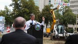 Local leaders broke ground Monday on a $6 to $8 million renovation project in Rodney Square.