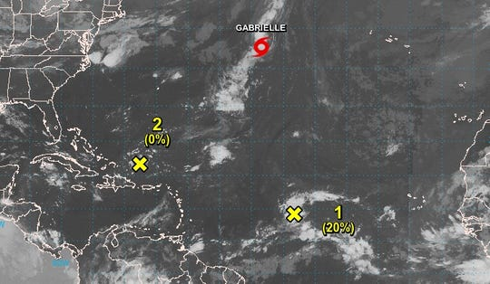 Forecasters are keeping an eye on three systems in the Atlantic, including Tropical Storm Gabrielle.
