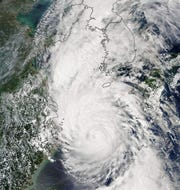 This image obtained from NASA Earth Observatory shows Typhoon Lingling on September 6, 2019. - The powerful storm is expected to make landfall in the North on September 7, 2019, in the afternoon after passing off the coast of South Korea, according to Seoul's Korea Meteorological Administration.