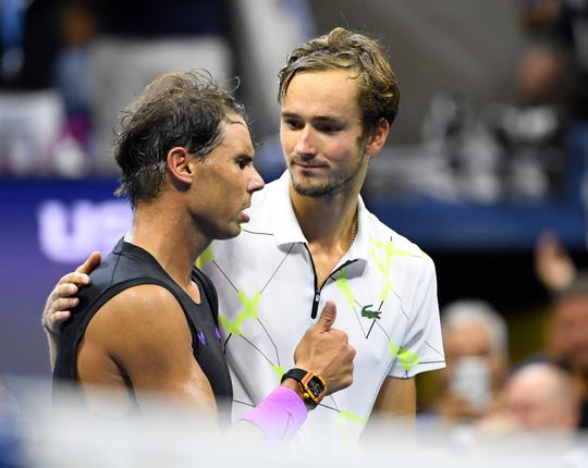 """Daniil Medvedev (right) on going down a break in the third set: """"(I was thinking), 'Okay, in 20 minutes I have to give a speech. What do I say?' """""""