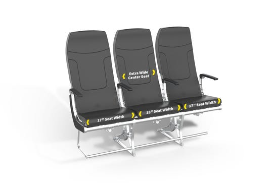 Budget airline Spirit introduces seats it says are roomier.