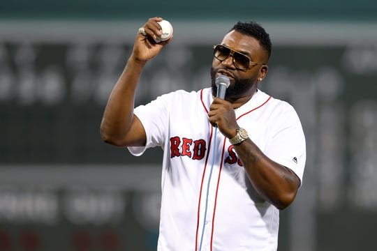 David Ortiz addresses the crowd before the Red Sox's game against the Yankees.