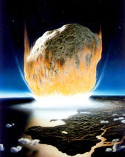 An artist's conception depicts the asteroid impact that killed the dinosaurs. The asteroid in the artwork appears much larger than the 6-mile rock that scientists hypothesize struck the Earth 66 million years ago.