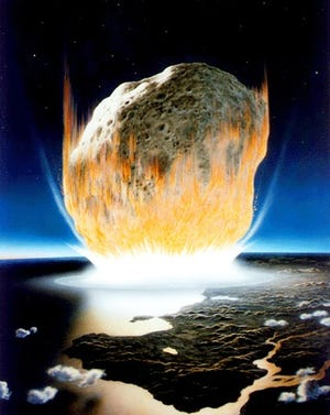 An artist's conception of the asteroid impact that killed the dinosaurs, 66 million years ago