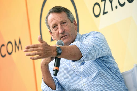 """Republican politician Mark Sanford, the former South Carolina governor and congressman, has decided to launch a longshot Republican challenge to President Donald Trump. """"I am here to tell you now that I am going to get in,'' Sanford said in an interview on """"Fox News Sunday,'' Sept. 8, 2019. In this July 21, 2018, file photo, Sanford speaks at OZY Fest in Central Park in New York."""