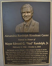 "The plaque at the Randolph Riverfront Center honoring former Mayor Edward ""Ned"" Randolph."