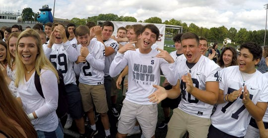 The Middletown South High School community gets fired up during the taping of the Red Show Road Show Monday, September 9, 2019.  The Eagles face off against St. John Vianney Friday night.