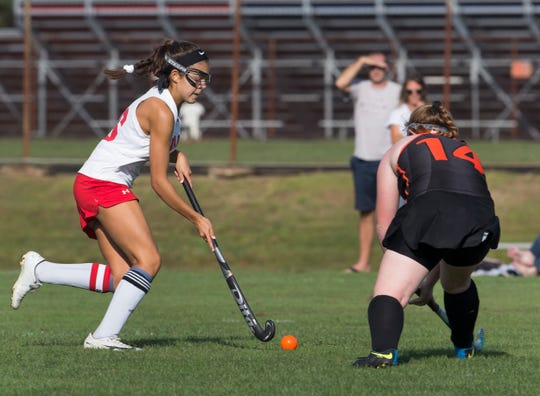 Wall Lynne Walenjus heads towards the goal in second half action. Wall Field Hockey vs Middletown North in Wall, NJ on September 10, 2019.