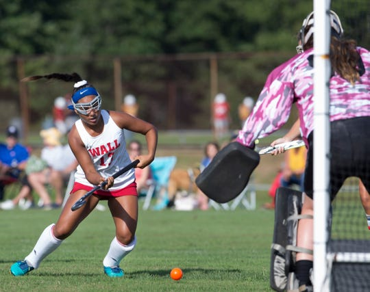 Wall Bella Bonazinga takes a shot at goal in second half action. Wall Field Hockey vs Middletown North in Wall, NJ on September 10, 2019.