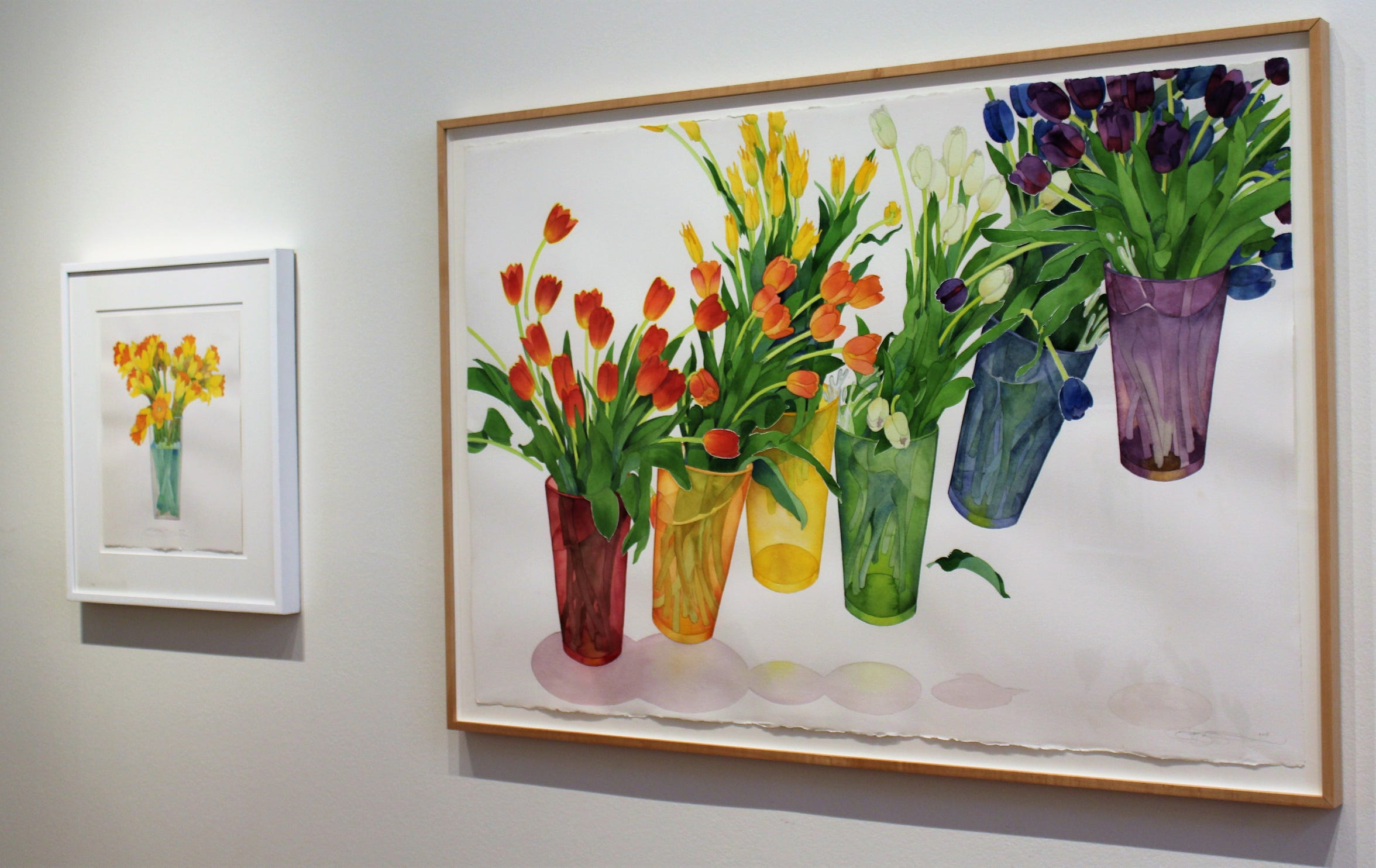 """While many flower presentations appear as still life, Gary Bukovnik adds motion in """"Composition with Tumbling Vases."""""""