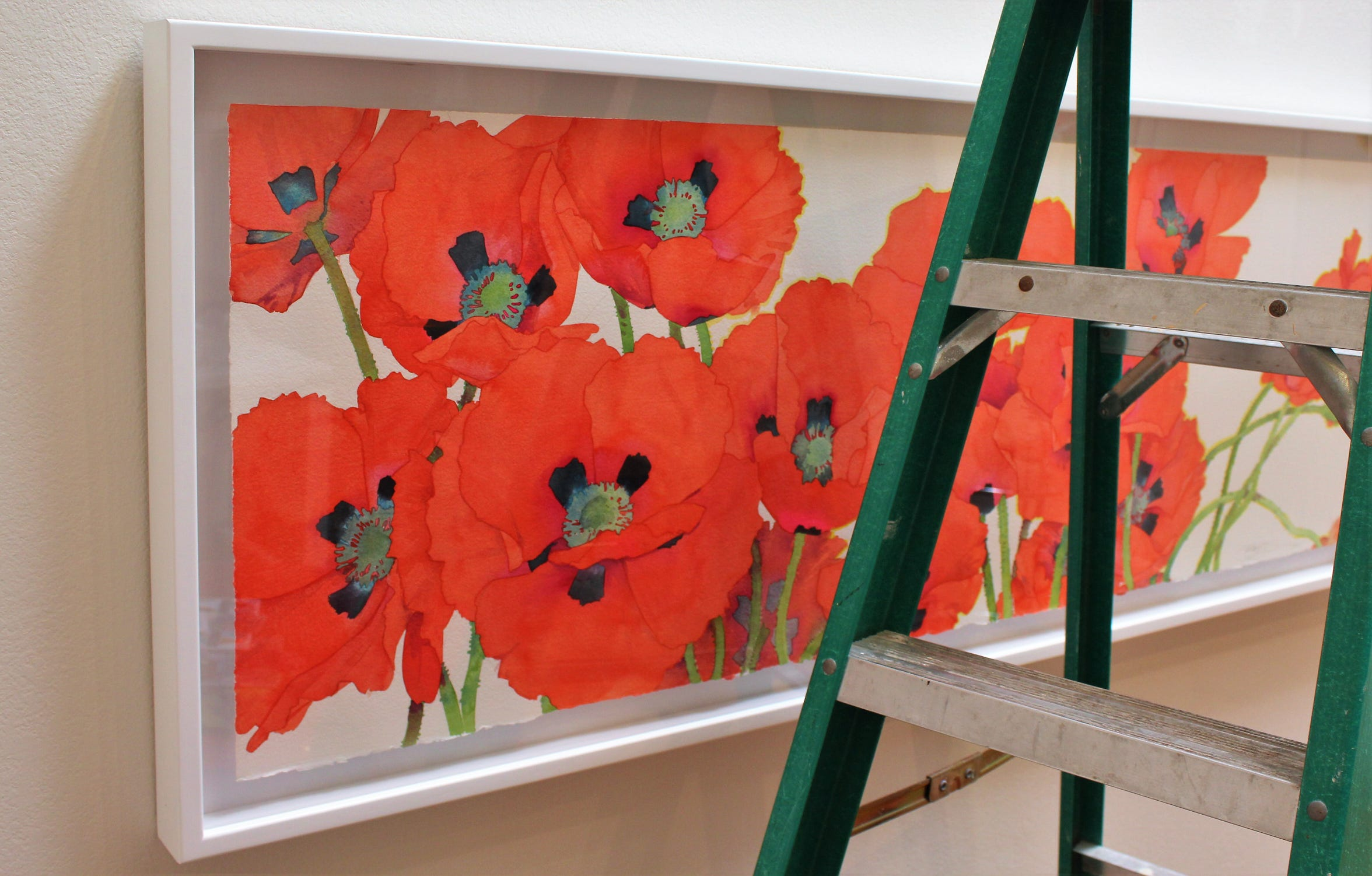 """""""Bright Poppies"""" color a wall behind a ladder used for installation of """"Forever Spring,"""" a show of Gary Bukovnik's watercolors."""