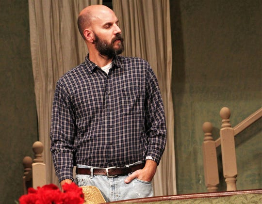 "Craig Middle School science teacher Jason Barber is farmer Ott Tobin in Abilene Community Theatre's ""Apple of His Eye."" It's Barber's first time on stage and he said of opening weekend, ""I remembered all my lines."""