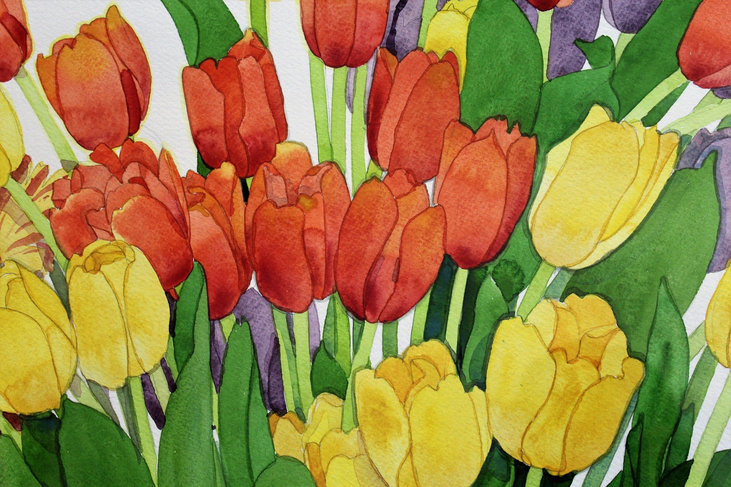 "Detail of Gary Bukovnik's watercolor painting ""Jubilent Tulips"" at Jody Klotz Fine Art."