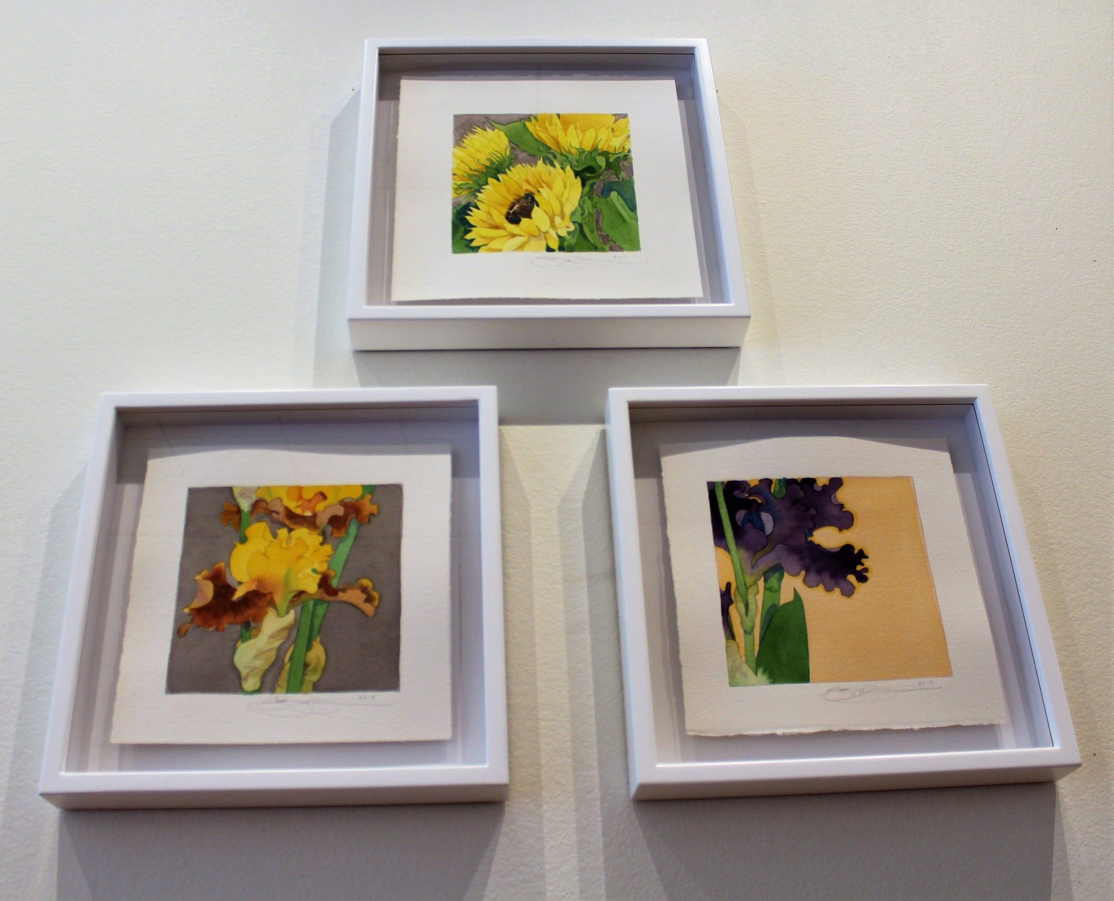 """Three smaller watercolors of flowers by Gary Bukovnik in Jody Klotz Fine Art: """"Sunflower Study,"""" """"Iris Study #1"""" (left) and """"Iris Study #2."""""""