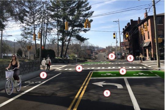 """A rendering of the planned Charlotte Street """"road diet"""" and safety enhancements, whose construction is set to run February through May."""
