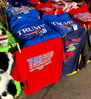 Pinson Novelties, which is leasing space at the Mountain State Fair, sells a variety of Trump items, including hats and T-shirts.