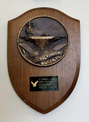 A plaque honoring Shannon Johnson's service aboard the USS Carl Vinson hangs in Johnson's Naval Hospital Bremerton office. Johnson was the ship's first-ever psychologist. She's now the commander of Naval Hospital Bremerton.